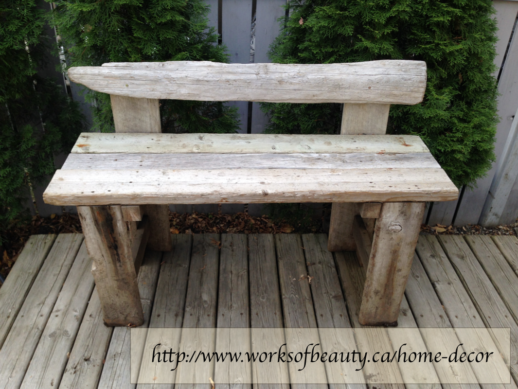 Picture of a rustic driftwood bench